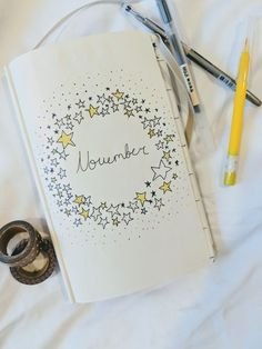 November Bullet Journal Cover. Star Theme.