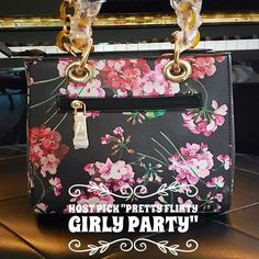 """🆑 Fancy Floral Mini Handbag Elaine mini vintage handbag made of Vegan materials.  One outter zipper pocket.  A drop strap adjustable (long) two Inner zipper compartments and a mini wooden like handle with tortoise Colored links.    Measures 9""""x4""""x7"""" Boutique Bags Mini Bags"""