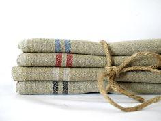 French linen table napkins hemp- Set of Six