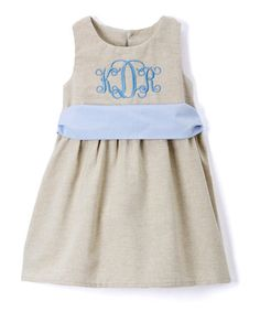 Deck your little one out in classic style with this sleeveless dress featuring an elegant script monogram. 100% cottonMachine wash; dry flatMade in the USAShipping note: This item will be personalized just for you. Allow extra time for your special find to ship.