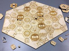 Laser Cut Settlers of Catan Board Out of Wood Laser Cut Wood, Laser Cutting, Catan Board, Wooden Board Games, Board Game Pieces, Settlers Of Catan, Laser Cutter Ideas, Board Game Design, Cnc Projects