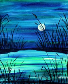 Super excited to paint this for my birthday next week!     Like the transparent precious sapphire stone, this scenic lagoon is a rare yet precious find.  The moon's reflective light glistens off the water turning it several shades of blue