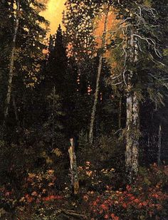 Sunset in the Bush - Frank Johnston Group of Seven Emily Carr, Canadian Painters, Canadian Artists, Landscape Art, Landscape Paintings, Nature Paintings, Landscapes, Group Of Seven Paintings, Tom Thomson Paintings