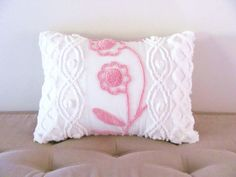 Pink pillow cover CLIMBING ROSES vintage chenille pink cushion cover 12 X 16 white cottage chic