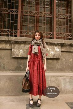 color & linen dress