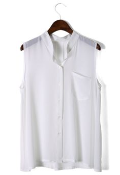 Laidback Pocket Chiffon Top in White - Best Sellers - Retro, Indie and Unique Fashion