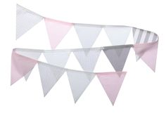 Stoff Wimpelkette grau/weiß/rosa 150cm