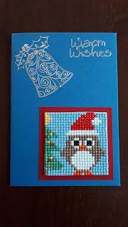 KleuriG: (Kerst) kaarten maken van overgebleven steentjes v... Cross Stitch Owl, Cross Stitching, Cross Stitch Embroidery, Cross Stitch Patterns, Diy Christmas Cards, Christmas Sewing, Christmas Cross, Christmas Perler Beads, Baby Hat Knitting Pattern