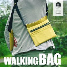 The Walking Bag #1 - Sac holster unisexe aux sangles ajustables. Il est composé de deux pochettes, l'une fermée par deux boutons pression et l'autre par une fermeture à glissière. Chaque pochette est munie de deux petites poches à l'avant et d'une grande poche, fermée par un bouton pression, à l'arrière. [Shop: http://www.alittlemarket.com/boutique/14h14] #thewalkingdead #holster