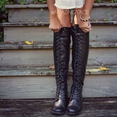 Boston Bridges Black Lace Up Tall Boot | Amazing Lace I have ones like this in brown. Love them!!!