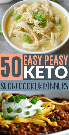 These keto slow cooker dinners are super easy to make! Now I have the best keto crock pot recipes to cook for dinner on my keto diet!!! Lots of low carb crockpot soup recipes for weight loss as well!