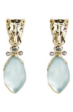 Alexis Bittar Future Antiquity Panther Clip-On Drop Earrings Pearl Earrings, Drop Earrings, Alexis Bittar, Panther, Blue Grey, Nordstrom, Carving, Sculpture, Number