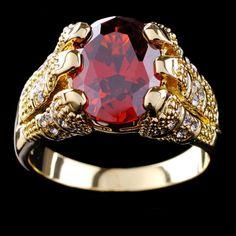 e605eaf3c98 Nouvelle arrivée mode bijoux marque New Ruby hommes 10KT or jaune plaqué  anneau size9   10   11   12 de la boutique en ligne