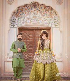 Mehndi dress bride and Groom Pakistani Mehndi Dress, Bridal Mehndi Dresses, Pakistani Wedding Outfits, Pakistani Bridal Dresses, Pakistani Wedding Dresses, Bridal Wedding Dresses, Bridal Outfits, Bridal Lehenga, Mehendi