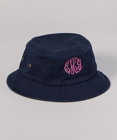 26f411c42f7 Navy  amp  Pink Monogram Bucket Hat  zulilyfinds
