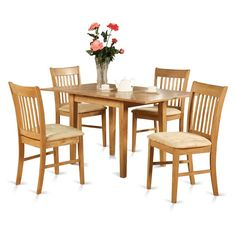 Oak Dinette Table with 12-inch Leaf and 6 Kitchen Chairs Chairs 7-piece Dining Set