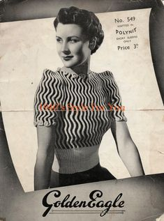 1940's Style For You: Free Knitting Pattern - 1930's Jumper - Golden Eag...