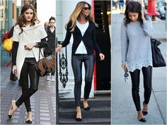 Legging de couro + sapatilha = look riqueza instantâneo. | 35 ideias para criar looks estilosos sem usar salto