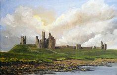 Mini Acrylic landscapes - Sharon Douglas art studio  mini Dunstanburgh Castle.  Painted by Sharon Douglas.  www.sharondouglas.weebly.com