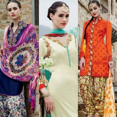 Floral Bliss : Presenting Patiyala Styled Salwar Suits  Composition : Pure cotton satin  Work : Floral multicolored printed  Dupatta : Pure bemberg chiffon  Style : Patiala Suits  For more designs visit Punjabi Suites or hit the link : https://goo.gl/l5Zu4v