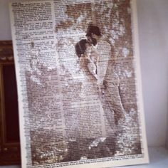 Print pictures on old book pages. In love!!!