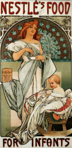 Page: Nestlé`s Food for Infants Artist: Alphonse Mucha Completion Date: 1897 Style: Art Nouveau (Modern) Genre: advertisement Technique: lithography Dimensions: 72 x cm Gallery: Private Collection Tags: mother-and-child, posters-and-advertisements Mucha Art Nouveau, Alphonse Mucha Art, Art Nouveau Poster, Art And Illustration, Jugendstil Design, Mail Art, Oeuvre D'art, New Art, Art History