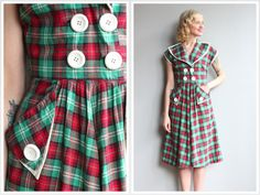 1950s Dress // Vicky Vaughn Plaid Dress // vintage 50s dress