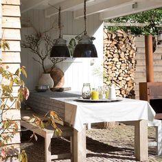 Enjoy! #sundayafternoon #sunshine #home #bijvtwonenthuis Outside Living, Outdoor Living, Kitchen Island, Pergola, New Homes, Home And Garden, Patio, Ceiling Lights, Table Decorations