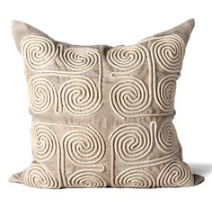 Hand embroidered pillows in linen and silk are sumptuously oversized and generously filled with down and feathers - tossed on a bed or a gathered on a sofa, create a lasting personal touch. Luxury Cushions, Luxury Throws, Eclectic Decorative Pillows, Mirror Art, Diy Home Crafts, Cushion Pads, Wool Pillows, Designer Pillow, Beige