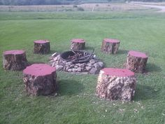 Fire pit tree stump seating. Painted tops with the same paint we used for a picnic table. Smores PLEASE!