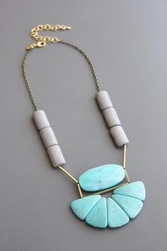 David Aubrey necklace with oxidized brass, magnesite, dyed howlite, and brass.Blue Hand Home's mission is to provide healthy, chic and uncomplicated luxuries. Long Pendant Necklace, Rope Necklace, Collar Necklace, Crystal Necklace, Clay Jewelry, Stone Jewelry, Jewelry Art, Jewelry Design, Jewelry Ideas