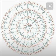 crochet chart for small sachet Crochet Mandala Pattern, Crochet Circles, Crochet Flower Patterns, Crochet Diagram, Crochet Round, Crochet Chart, Crochet Squares, Diy Crochet, Crochet Stitches