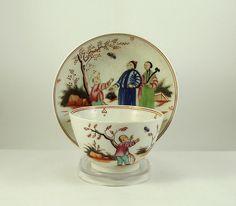 Antique New Hall Tea Bowl & Saucer Boy & Butterfly Pattern circa 1790