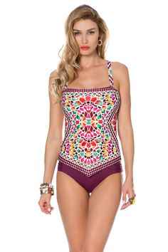 Tankini top with removable bandeau cups, open back, and adjustable x-back tie. Features striped ring with beach shells and beads.