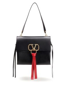 9a42e3e3e8a Valentino Medium V Black Smooth Calfskin Leather Shoulder Bag - Tradesy  Leather Shoulder Bag