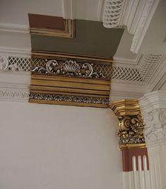 Mansion Interior, Home Interior Design, Home Decor Furniture, Painted Furniture, Bedroom False Ceiling Design, Plafond Design, Plaster Art, Wood Ceilings, Classic Interior