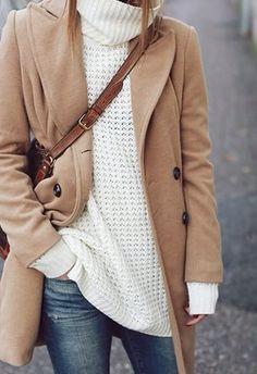 Camel Coat / Denim / White Knit Sweater