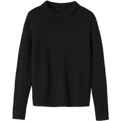 Toast Wool Roll Neck Sweater (1 610 UAH) ❤ liked on Polyvore featuring tops, sweaters, black, long black sweater, ribbed sweater, woolen sweaters, funnel neck sweater and ribbed top