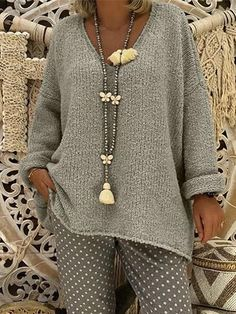 Women Pure Color V-Neck Long Sleeve Knitted Sweaters Outerwear winter winter outfit hivernale coat outfit fashion hiver coat outfit for women femme coat femme Loose Knit Sweaters, Casual Sweaters, Pullover Sweaters, Sweaters For Women, Winter Sweaters, Coat Outfit, Mode Hippie, Look Fashion, Womens Fashion