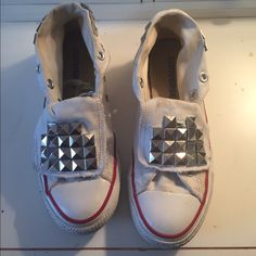 Studded Converse Great condition with signs of wear. Missing 4 studs but can easily be replaces. Converse are a little dirty but can be washed. Converse Shoes Sneakers