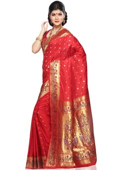 Red Pure Silk Handloom Banarasi Saree with Blouse Online Shopping: SAU150
