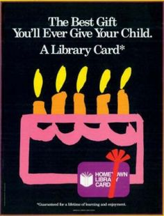 Detail from July/August 1987 issue of American Libraries, the poster  used to publicize the national library card campaign launched by ALA in 1987