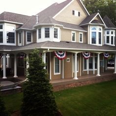 House with American flag bunting - love it!