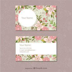 цветочный визитки шаблон Бесплатные векторы