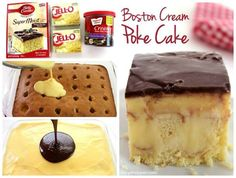 Boston Creme Poke Cake Ingredients: 1 box Yellow Cake Mix (plus box ingredients) 2 small boxes oz) Instant Vanilla Pudding Mix 4 cup Milk 1 container Chocolate Frosting Directions: Prepare cake in pan according to box directions. Poke Cake Recipes, Poke Cakes, Dessert Recipes, Quick Dessert, Dinner Dessert, Picnic Recipes, Pudding Vanille, Cake Flan, Just Desserts