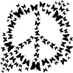 Schmetterlinge Peace - Ein Peacezeichen aus vielen Schmetterlingen.