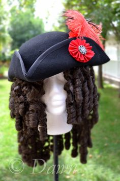 How to make a cocked tricornpirates hat papercraft felt diy hand made black felt tricorn hat with red ribbon cockade and ostrich feather step pronofoot35fo Image collections
