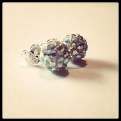 Super-sparkly sterling silver shamballa studs! Try saying that when you're drunk! #silver #earrings #crystal #beads