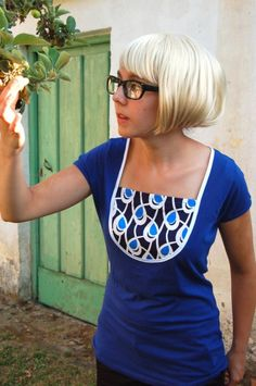 Ocean is blue t-shirt, cut neckline, add trim and special panel.