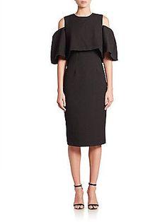 Monique Lhuillier Cold-Shoulder Dress